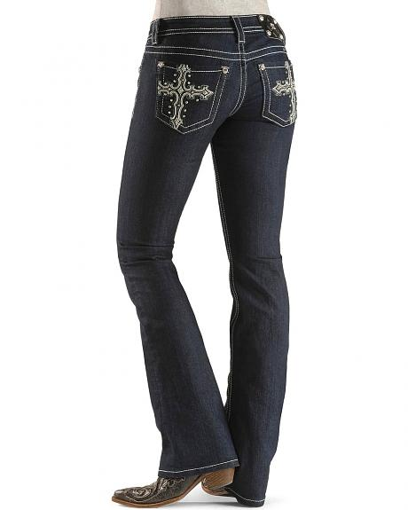Miss Me Bedecked Cross Applique Pocket Boot Cut Jeans - 33 1/2