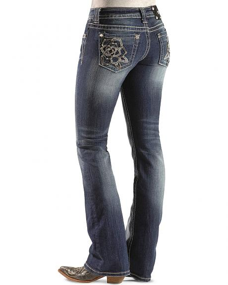 Miss Me Rhinestone Embellished Rose Embroidered Pocket Boot Cut Jeans - 33 1/2