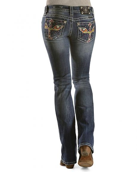 Miss Me Rhinestone Embellished Multi-Colored Cross Jeans - 33 1/2