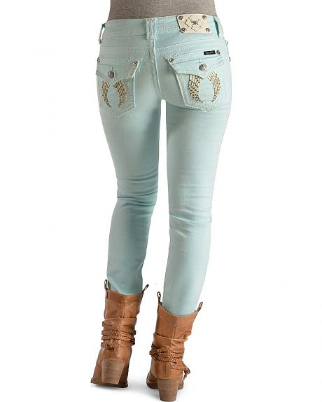 Miss Me Icy Blue Embroidered Wing Skinny Jeans