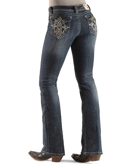 Grace in L.A. Rhinestone Dazzled Cross Embroidery Flap Pocket Boot Cut Jeans