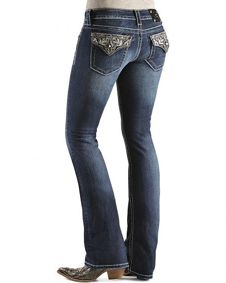 Miss Me Embroidered Flap Jeans