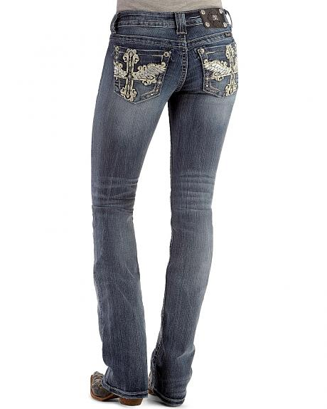 Miss Me Rhinestone Embellished Winged Cross Applique Jeans - Extended Sizes