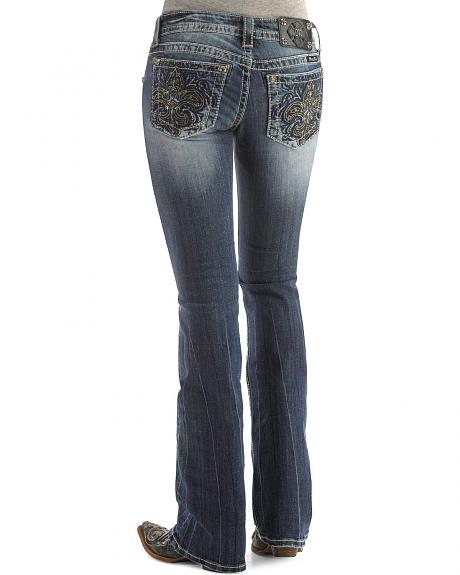 Miss Me Embellished Fleur-de-lis Embroidery Bootcut Jeans - 33