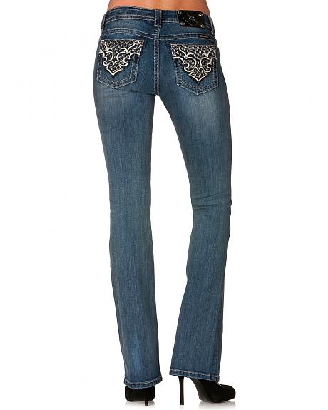 Miss Me Rhinestone Studded Back Pocket Applique Bootcut Jeans - Extended Sizes
