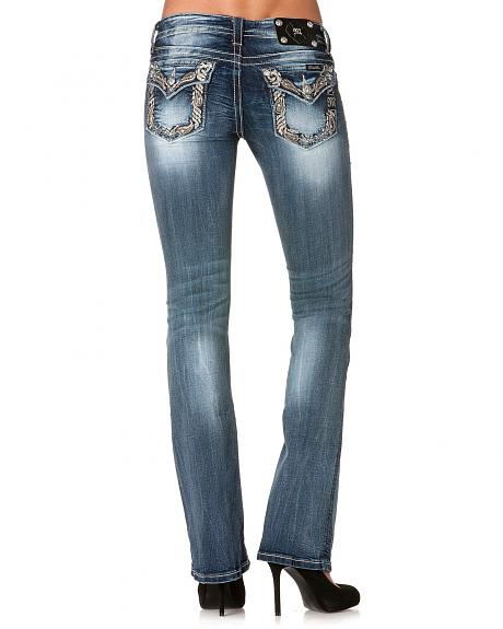 Miss Me Paisley Embroidered Trim Back Pocket Jeans - 33 1/2
