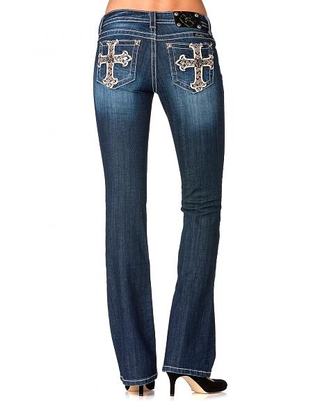 Miss Me Embroidered Cross Pocket Jeans - Extended Sizes