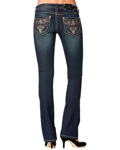 Miss Me Fancy Embroidered Pocket Jeans - Extended Sizes
