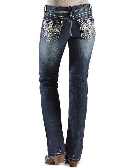 Grace in L.A. Metallic Cross & Wing Embroidered Pocket Jeans