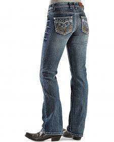 Cowgirl Up Embroidered Scroll Back Pocket Jeans