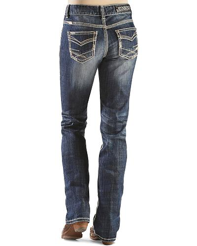 Rock & Roll Cowgirl Boyfriend Abstract Pocket Jeans Western & Country W2-9512
