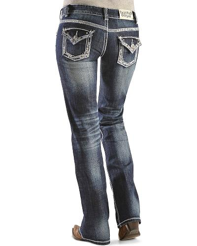 Rock & Roll Cowgirl Blue Rhinestone Embellished Bootcut Jeans Western & Country W0-9491