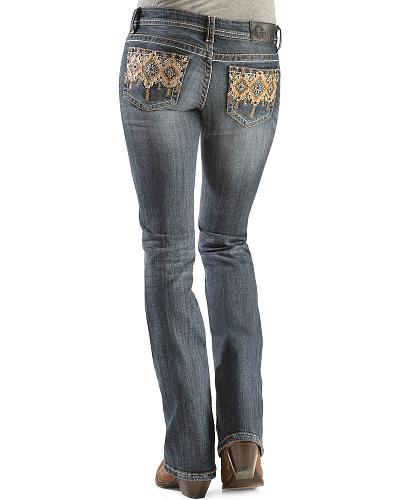 Grace in L.A. Topaz Tribal Applique Jeans Western & Country EB5761