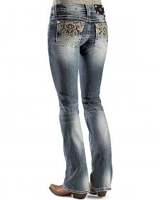 Miss Me Juniors' Geo Embellished Boot Cut Jeans