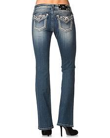 Miss Me Zebra Print Applique Bootcut Jeans
