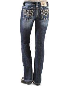 Miss Me Sparkly Snowflake Bootcut Jeans