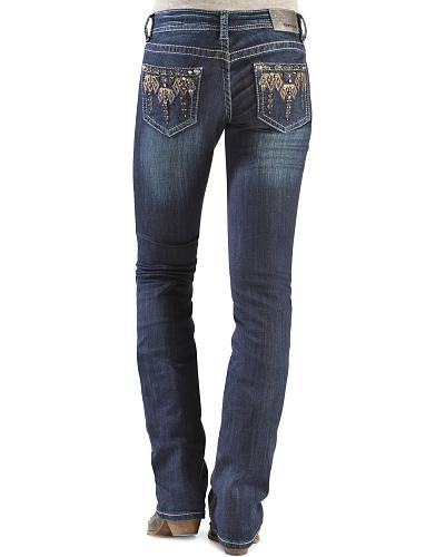 Grace in L.A. Tribal Embellished Straight Leg Jeans Western & Country JB6819