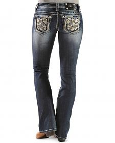 Miss Me Floral Embroidered Open Pocket Bootcut Jeans