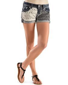 Miss Me Crochet-Embellished Denim Shorts