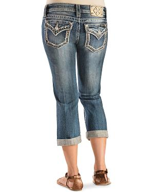 Miss Me Distressed Embellished Capris - Extended Sizes