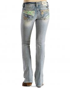 Miss Me Patchwork Pocket Distressed Bootcut Jeans