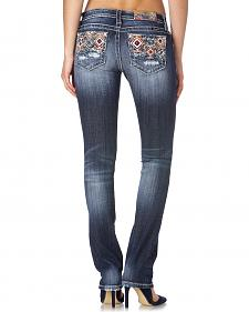 Miss Me Aztec Embellished Straight Leg Jeans
