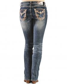 Grace in L.A. Paisley Vine Embellished Bootcut Jeans