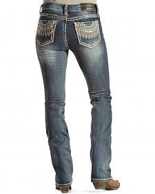 Grace in L.A. Women's Half Circle Embellished Easy Fit Bootcut Jeans