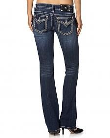 Miss Me Feather Stitch Flap Pocket Signature Fit Jeans - Boot Cut