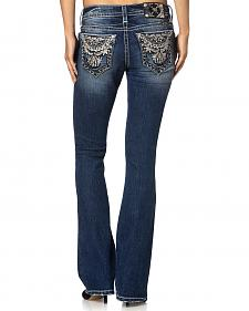 Miss Me Mid-Rise Signature Fit Aztec-Embroidered Jeans - Boot Cut
