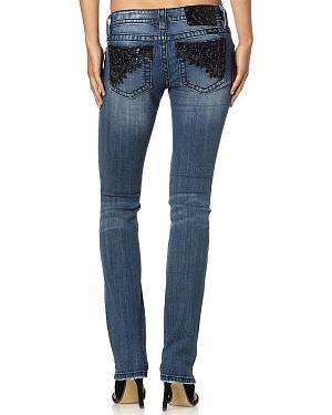 Miss Me Sequin Narrow Fit Jeans - Straight Leg