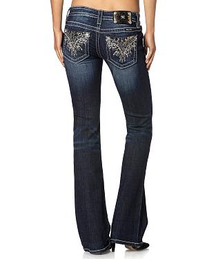 Miss Me Silver Sequin Narrow Fit Jeans - Boot Cut