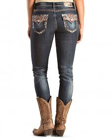 Grace in L.A. Women's Classic Skinny Aztec Flap Pocket Jeans