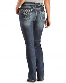 Grace in L.A. Women's Cross Stitch Back Pocket Easy Fit Jeans - Extended Sizes