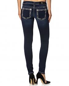 Miss Me Women's Embroidered Rim Pocket Skinny Jeans
