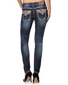 Miss Me Skinny Embroidered Flap Pocket Jeans