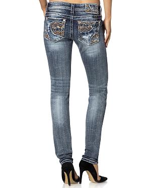 Miss Me Skinny Fit Scroll Embroidered Jeans