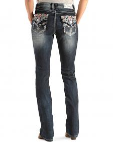 Grace in LA Women's Flap Pocket Multi-Embroidered Easy Fit Jeans - Boot Cut