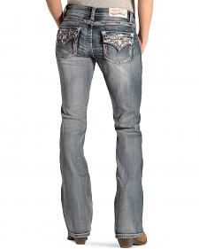 Grace in LA Women's Flap Pocket Multi-Stitch Jeans - Boot Cut