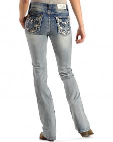 Grace in LA Women's Paisley Pocket Easy Fit Jeans - Boot Cut