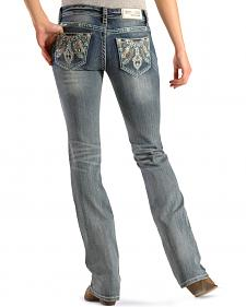 Grace in LA Women's Feather Embroidered Pocket Jeans - Boot Cut