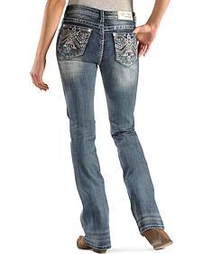Grace in LA Women's Aztec Stitch Pocket Easy Fit Jeans