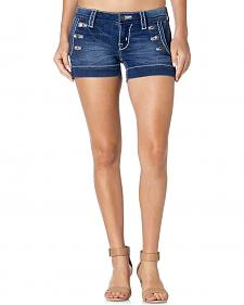 Miss Me Sailor Button Denim Shorts