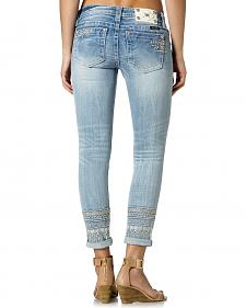 Miss Me Embroidered Cuff Skinny Jeans