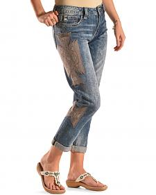 Miss Me Side Embroidered Design Ankle Cuff Jeans