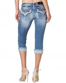 Miss Me Women's Lattice Stitch Denim Capris