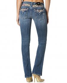 Miss Me Women's Embellished Flap Pocket Bootcut Jeans