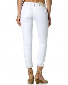 Miss Me Women's White Embroidered Cuff Skinny Jeans
