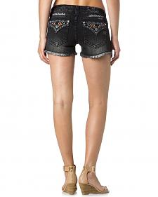 Miss Me Women's Embroidered Flap Pocket Black Denim Shorts