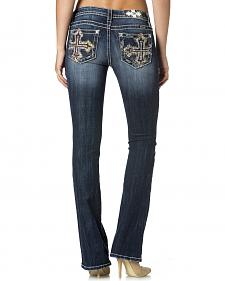 Miss Me Women's Mid Rise Cross Pocket Bootcut Jeans